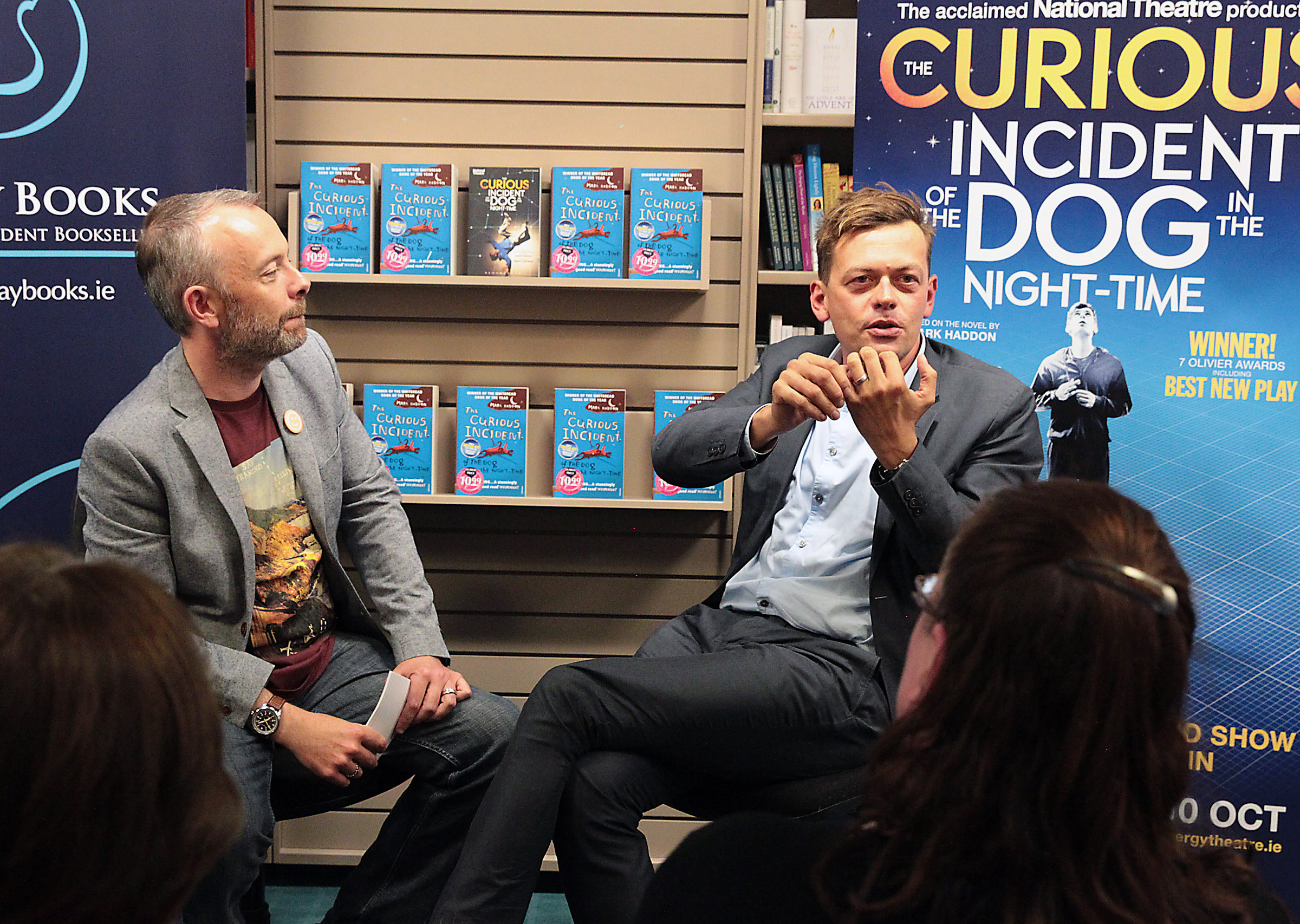 Dubray Books and the Bord Gáis Energy Theatre, in association with The National Theatre of Great Britain, held a very special event with Rick O'Shea and playwright Simon Stephens (right). The Rick O'Shea Book Club event celebrated the highly anticipated arrival of the award winning play, The Curious Incident of the Dog in the Night-Time, which comes to the Bord Gáis Energy Theatre from 6-10 October as part of the Dublin Theatre Festival. Picture:Brian McEvoy No Repro fee for one use