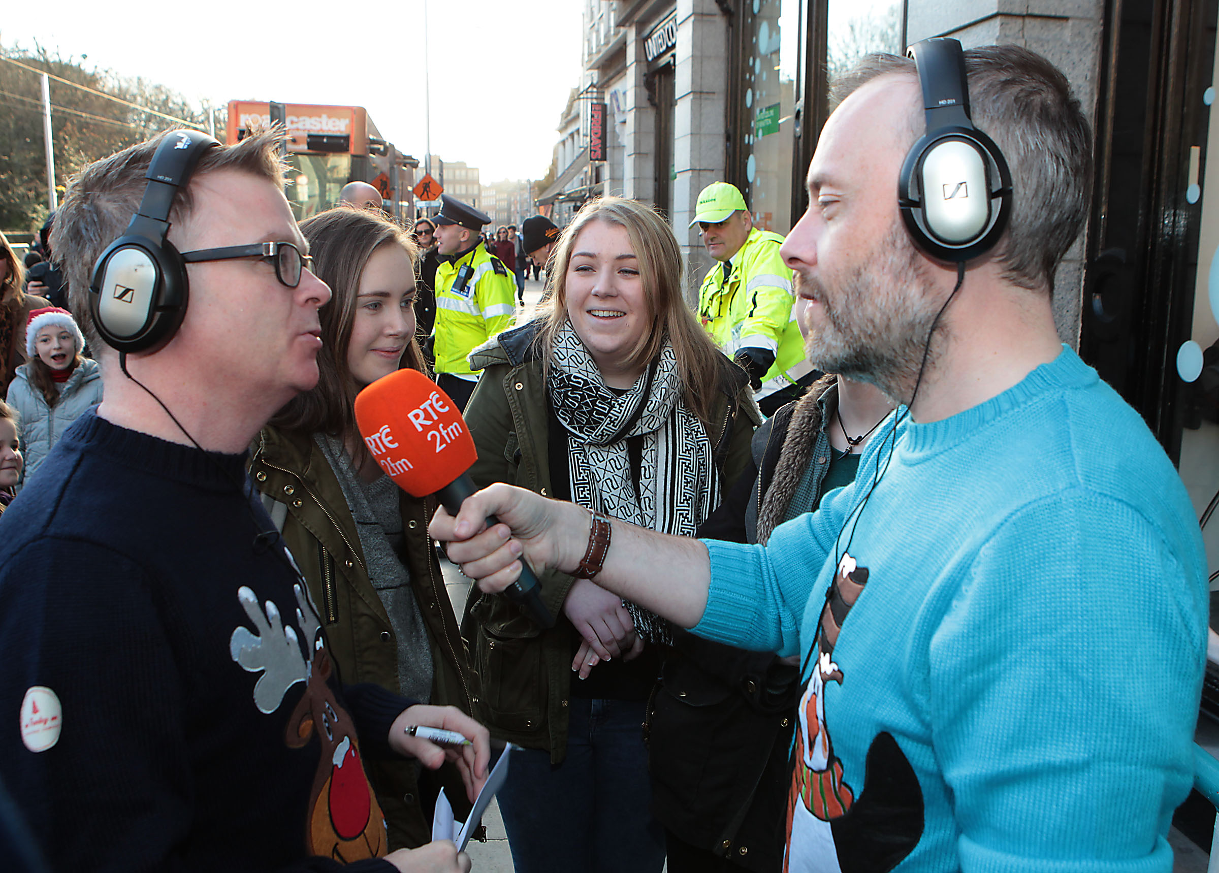 Cormac Battle and Rick O Shea at The Rte 2fm Radiothon in Stephens Green Dublin in aid of the St Vincent de Paul Aldi Give a Gift Campaign Well known face dropped by, through the all day live broadcast to donate gifts in aid of the campaign Pic:Brian McEvoy No repro fee for one use